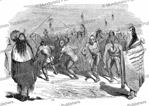 redskin indians performing a scalp-dance, canada, l'illustration, 1844