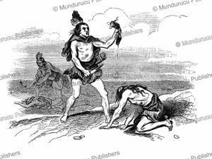 redskin indians take a scalp, canada, l'ilustration, 1844