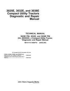 john deere 3025e 3032e 3038e (hj_xxxxxx—) tractors diagnostic & repair technical manual tm151719