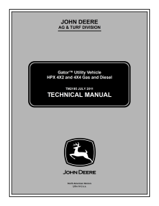 john deere hpx 4x2 4x4 gas & diesel gator tm2195 jul2011 service repair manual pdf