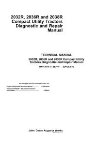 john deere 2032r 2036r 2038r compact tractors service repair manual tm143919