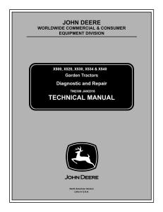 john deere x500 x520 x530 x534 x540 garden tractor service repair manual tm2309