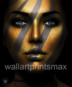 abstract gold black girl print