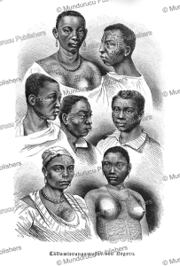 tattoo designs of east african woman, a. rugendas, 1894