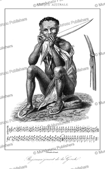 First Additional product image for - San or Bushmen man playing a gorah (musical bow), Lemaitre, 1848