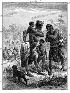 female bushmen gathering austriche eggs, emile bayard, 1866