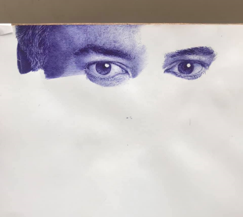 First Additional product image for - painting drawing the eyes of a strong man