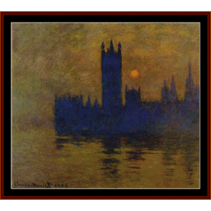 houses of parliament, sunset - monet cross stitch pattern by cross stitch collectibles