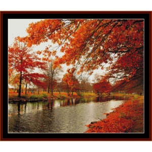 canal in autumn - nature cross stitch pattern by cross stitch collectibles