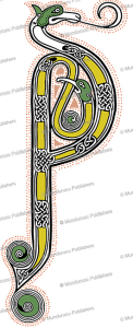 initial p from the book of kells, after w.j. loftie, 1885