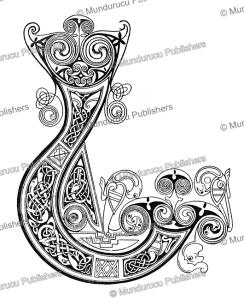 early irish initial j from the book of kells, w.j. loftie, 1885
