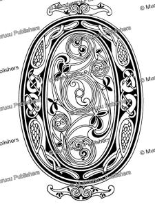 early irish initial o from the book of kells, w.j. loftie, 1885
