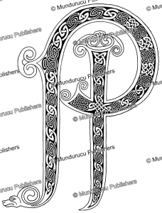 celtic initial p & i from the book of kells, after george bain, 1951