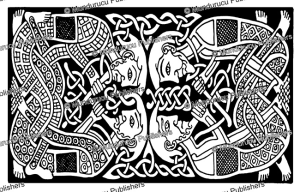 celtic interlaced humans from the book of kells, george bain, 1951