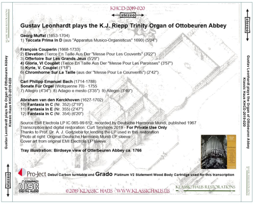 First Additional product image for - Gustav Leonhardt plays the K.J. Riepp Trinity Organ of Ottobeuren Abbey