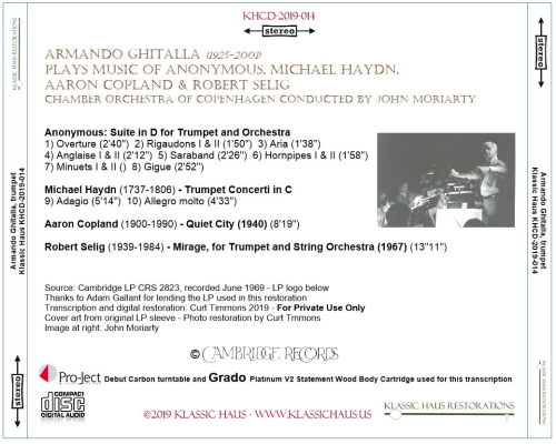 First Additional product image for - Armando Ghitalla plays music of Anonymous, Michael Haydn,  Aaron Copland & Robert Selig
