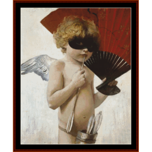 cupid at the masked ball - von stuck cross stitch pattern by cross stitch collectibles