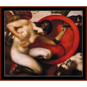 wounded amazon - von stuck cross stitch pattern by cross stitch collectibles