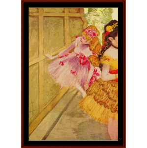 dancer against a stage flat - degas cross stitch pattern by cross stitch collectibles