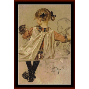 Vintage Girl with Doll - Leyendecker cross stitch pattern by Cross Stitch Collectibles | Crafting | Cross-Stitch | Other