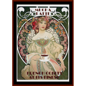 french coffee at its finest - vintage art cross stitch pattern