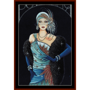 glamour girl in blue - vintage art cross stitch pattern