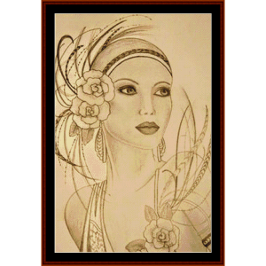 glamour girl with feathers - vintage art cross stitch pattern