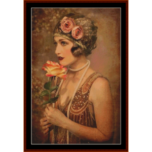 glamour girl with rose - vintage art cross stitch pattern