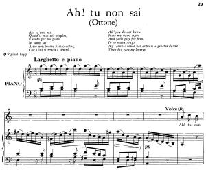 ah! tu non sai, quant'il mio cor sospira, aria for contralto in a minor (original key), ottone hwv 15, g f händel. vocal score. ed. imc 3pp a4