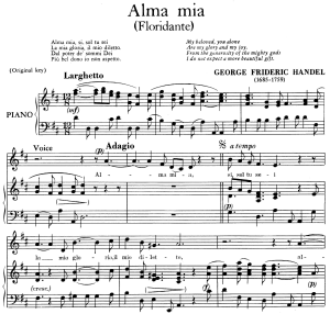 alma mia, aria for contralto in d major (original key), floridante hwv 14, g.f händel, low voice, vocal score. ed. imc (pd) 2pp a4