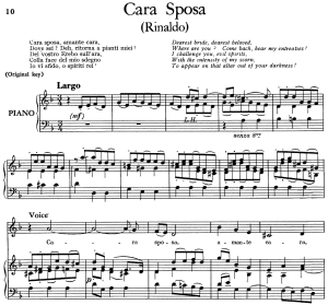 cara sposa, aria for contralto in d minor (original key). low voice. rinaldo hwv 7, g.f. handel. ed. imc (pd). 5pp a4