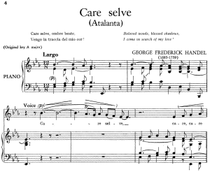 care selve, low voice in b-flat major, atalanta, g.f.haendel, (transposition for low voice), rinaldo hwv 7, g.f.händel, vocal score, ed. imc. 2pp a4