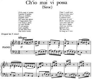 ch'io mai vi possa, low voice in d minor (transposition for low voice), g. f. händel. siroe, hwv 24. vocal score, ed. imc. 5pp a4