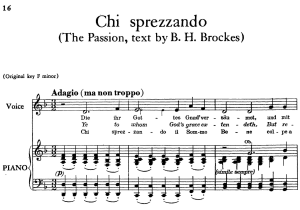 chi sprezzando, low voice in d minor (transposition for low voice), brockes passion, g. f. händel. vocal score, ed. imc. 2pp a4