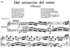 del minacciar del vento, aria for contralto, low voice in d minor  (original key), ottone, hwv 15, g.f.händel, vocal score, ed. imc. 4pp a4
