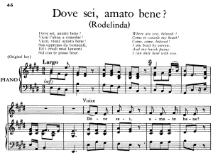dove sei, amato bene, aria for contralto, low voice in a major  (original key), rodelinda, hwv 19, g.f.händel, vocal score, ed. imc. 2pp a4