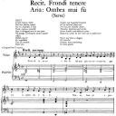 """Ombra mai fù, Aria for Low Voice in D Major  (Transposition for Low Voice), with Recitative """"Frondi tenere..."""", Serse (Xerxes), HWV 40, G.F.Händel, Vocal Score, Ed. Imc. 3pp A4 