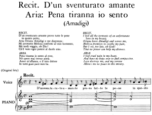 "pena tiranna, aria for contralto, low voice in d minor  (original key)"", with recitative ""d'un sventurato amante..."", amadigi re di gaula, hwv 11, g.f.händel, vocal score, ed. imc. 4pp a4"