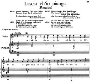 "lascia ch'io pianga, aria for low voice in d major, with recitative ""armida dispietata...""  (transposition for low voice), rinaldo hwv 7, g. f. händel, vocal score, ed. imc. 3pp a4"
