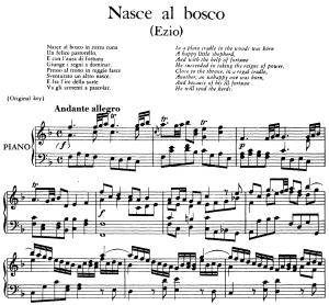 nasce al bosco, aria for contralto in f major (original key), ezio hwv 29, g. f. händel, vocal score, ed. imc. 4pp a4