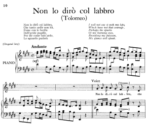 non lo diro col labbro, aria for contralto in e major (original key), tolomeo hwv 25, g. f. händel, vocal score, ed. imc. 4pp a4
