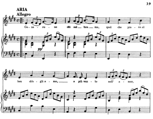 "First Additional product image for - Generoso chi sol brama, Aria for Contralto in E Major (Original Key), with Recitative ""Nulla temer"", Scipione HWV 20, G. F. Händel, Vocal Score, Ed. Imc. 4pp A4"