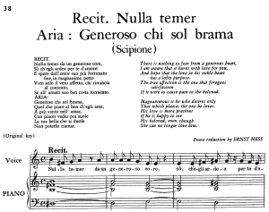 "generoso chi sol brama, aria for contralto in e major (original key), with recitative ""nulla temer"", scipione hwv 20, g. f. händel, vocal score, ed. imc. 4pp a4"