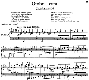 ombra cara, aria for low voice in d minor (transposition for low voice), radamisto hwv 12, g. f. händel, vocal score, ed. imc. 4pp a4