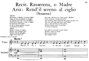 "rend'il sereno al ciglio, aria for low voice in g major, with recitative 'rasserena, o madre"". transposition for low voice, sosarme hwv 30, g. f. händel, vocal score, ed. imc. 4pp a4"
