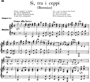 si, tra i ceppi, aria for contralto in c minor (original key), low voice. berenice hwv 38, g. f. händel, vocal score, ed. imc. 4pp a4
