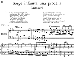 sorge infausta una procella, aria for contralto in c minor (original key), low voice. orlando hwv 31, g. f. händel, vocal score, ed. imc. 2pp