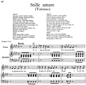 "stille amare, aria for contralto in b-flat minor (original key), with recitative ""in umano fratel"". low voice. tolomeo hwv 25, g. f. händel, vocal score, ed. imc. 4pp a4"