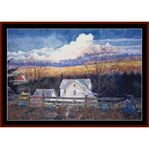 the red gate - americana cross stitch pattern by cross stitch collectibles