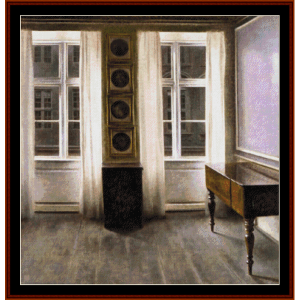 drawing room - hammershoi cross stitch pattern by cross stitch collectibles